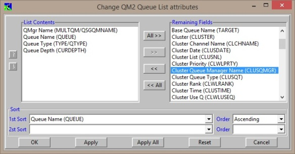 MO71 Change Queue List attributes