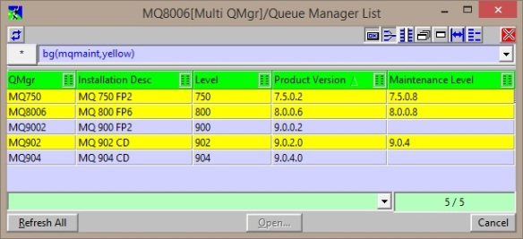 MO71 QMList filtered by Maintenance